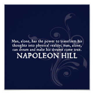 Napoleon Hill 'Thoughts and Dreams' Quote Poster