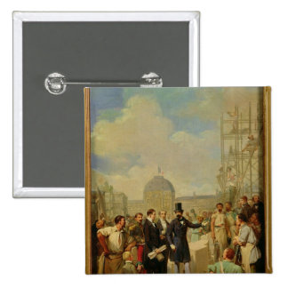 Napoleon III Visiting the Works at the Louvre 2 Inch Square Button