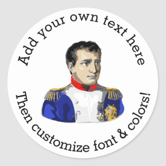 Napoleon Poster Style Drawing Round Sticker