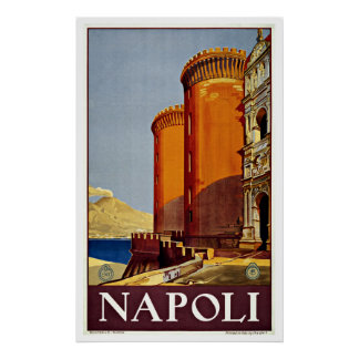 Napoli Italy Castel Nuovo Vintage Travel Poster