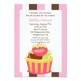 Napolitano Ice Cream Sundae Birthday Invitation