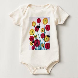 Nappen blomster med sommerfugler baby bodysuit