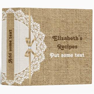 Napperon blanc romantique avec la recette de classeur 3 anneaux
