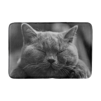 Napping Gray Cat Head Shot Bath Mat
