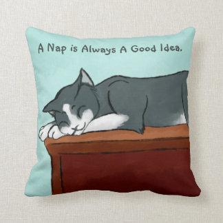 Napping Kitty Throw Pillow