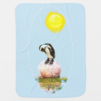Napping Penguin in the Sun Baby Blanket