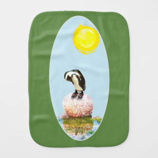 Napping Penguin in the Sun Burp Cloth