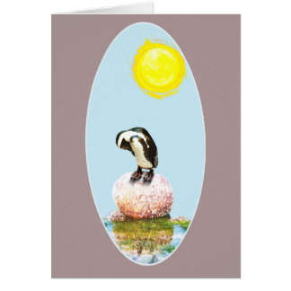 Napping Penguin in the Sun Card
