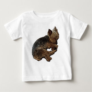 Napping Yorkie Baby T-Shirt