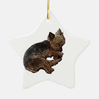 Napping Yorkie Ceramic Ornament