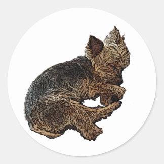 Napping Yorkie Classic Round Sticker