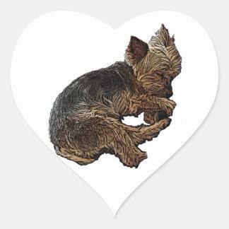 Napping Yorkie Heart Sticker