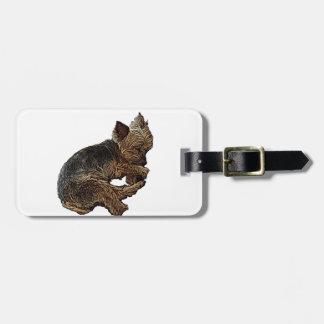Napping Yorkie Luggage Tag