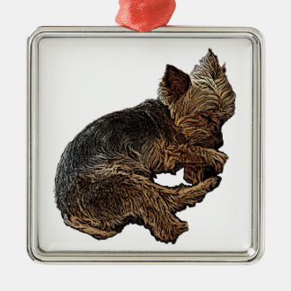 Napping Yorkie Metal Ornament