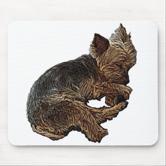 Napping Yorkie Mouse Pad