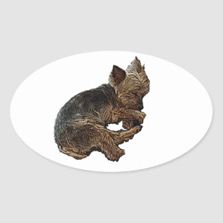 Napping Yorkie Oval Sticker