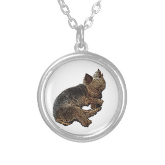 Napping Yorkie Silver Plated Necklace