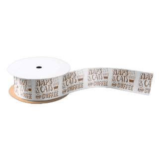 naps and cats and coffee satin ribbon