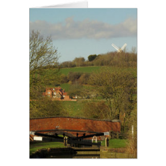 Napton windmill seen from the Oxford canal. Card