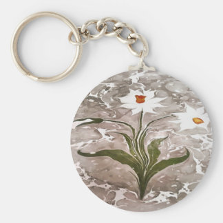 Narcissus On Marble Basic Round Button Keychain