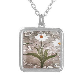 Narcissus On Marble Silver Plated Necklace
