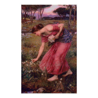 Narcissus Picking Flowers Poster