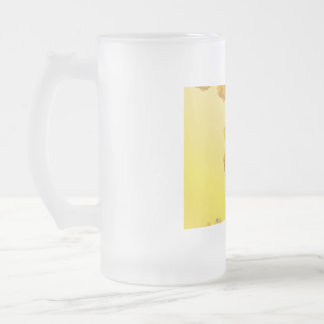 Narcissus Yellow Daffodil Retro Vintage Frosted Glass Beer Mug