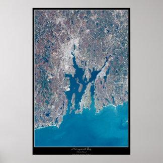 Narragansett Bay Rhode Island satellite poster