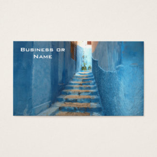 Narrow Blue Stairway in Morocco Business Card