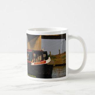 Narrow boat at embankment, River Nene, Peterboroug Coffee Mug