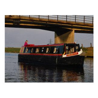 Narrow boat at embankment, River Nene, Peterboroug Postcard