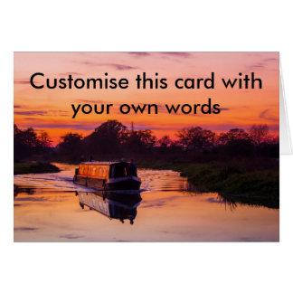 Narrow boat at Sunset Greeting Card