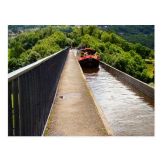 Narrow boat crossing the Aquaduct Postcard