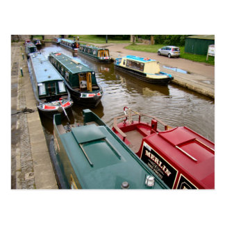 Narrow boats waiting to cross the Aquaduct Postcard