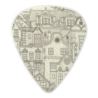 Narrow city houses sketchy illustration pattern acetal guitar pick