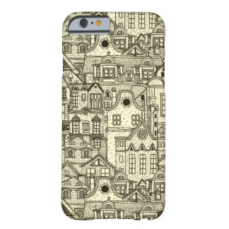 Narrow city houses sketchy illustration pattern barely there iPhone 6 case