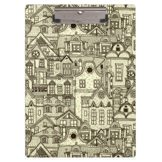 Narrow city houses sketchy illustration pattern clipboard