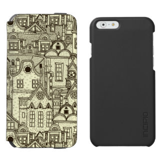 Narrow city houses sketchy illustration pattern incipio watson™ iPhone 6 wallet case