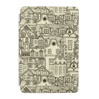 Narrow city houses sketchy illustration pattern iPad mini cover