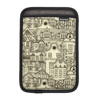 Narrow city houses sketchy illustration pattern iPad mini sleeves