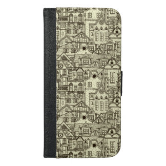 Narrow city houses sketchy illustration pattern iPhone 6/6s plus wallet case
