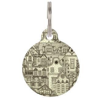 Narrow city houses sketchy illustration pattern pet name tag