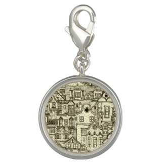 Narrow city houses sketchy illustration pattern photo charms