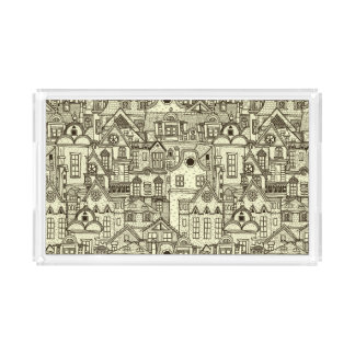 Narrow city houses sketchy illustration pattern serving tray