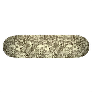 Narrow city houses sketchy illustration pattern skate boards