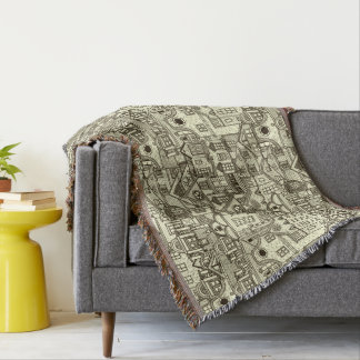 Narrow city houses sketchy illustration pattern throw blanket