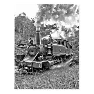 Narrow Gauge Steam Train Black and White Postcard