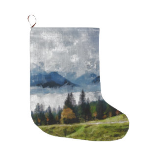 Narrow path on a hill large christmas stocking