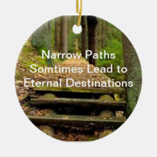 Narrow Path Pendent Round Ceramic Ornament