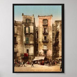 Narrow streets, Naples, Italy classic Photochrom Poster